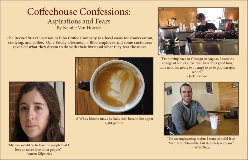 Collage created using InDesign, photos and interviews from Bibo Coffee Company April 24, 2015.